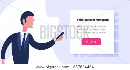 businessman presenting business infographic template information male cartoon character flat portrait horizontal copy space stock photo
