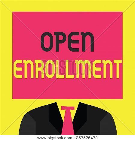Writing note showing  Open Enrollment. Business photo showcasing The yearly period when people can enroll an insurance stock photo