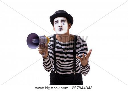 Mime with megaphone isolated on white background stock photo