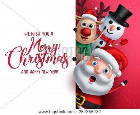 Merry Christmas Greeting Template With Santa Claus, Snowman And Reindeer Vector Characters Singing W