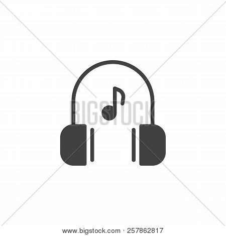 Headphones and music note vector icon. filled flat sign for mobile concept and web design. Listen to music simple solid icon. Symbol, logo illustration. Pixel perfect vector graphics stock photo
