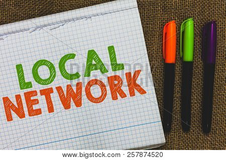 Conceptual hand writing showing Local Network. Business photo text Intranet LAN Radio Waves DSL Boradband Switch Connection Open notebook jute background colorful markers Expressing ideas. stock photo