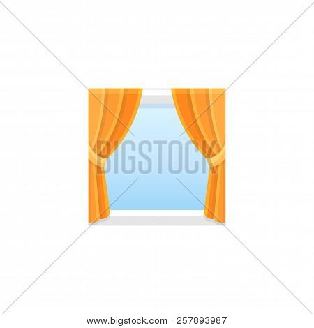 Orange fabric curtain with drapery. Vector illustration. Flat icon of traditional blind. Element of home & office window decoration. Front view. stock photo