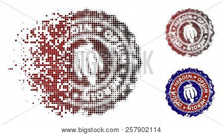 Heroin opium stamp icon in dispersed, pixelated halftone and undamaged solid variants. Cells are composed into vector disappearing heroin opium stamp icon. stock photo