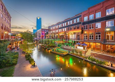 Oklahoma City, Oklahoma, USA cityscape in Bricktown at dusk. stock photo