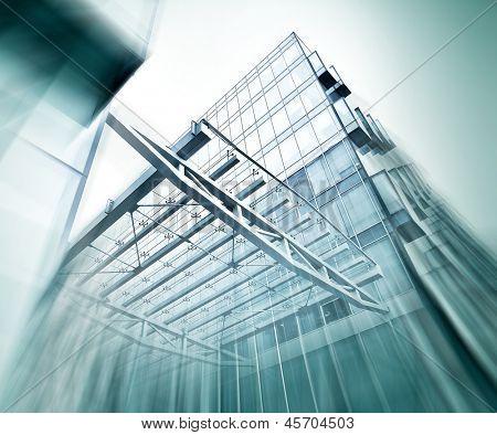 Vue panoramique et en perspective de grand angle à fond en acier bleu de verre haut lieu skysc de construction