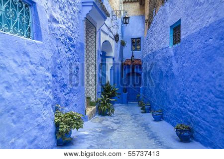 Traditional moroccan architectural details in Chefchaouen, Morocco, Africa  stock photo