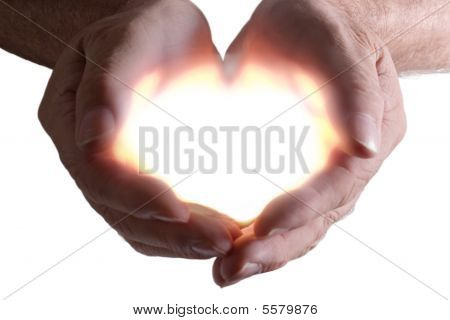 Light containing two cupped hands cropped white background stock photo