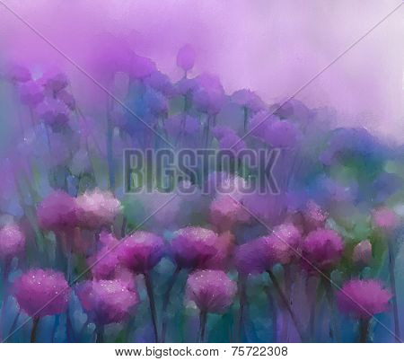 Purple onion flower.Oil painting.Abstract flower digital painting.