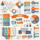 Infographics set with alternatives. Infographic, Ribbon, Logo, Icon and 3d Vector Elements. Social C