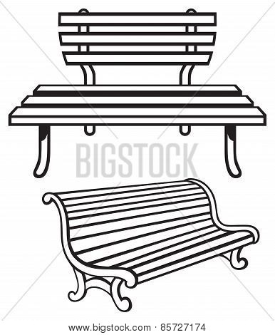 Wooden bench isolated on white background. Vector EPS 8 stock photo