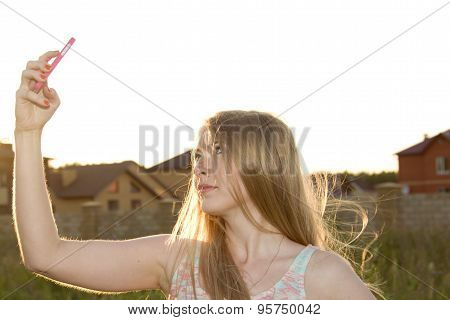 One of the photos Made during a photo shoot of Russian girl in summer at sunset. stock photo