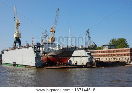Ship Dock boat reconditioning in Staint Peterburg stock photo