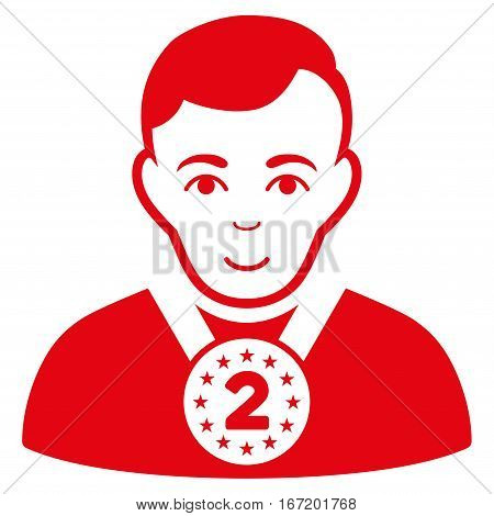 2nd Prizer Sportsman vector icon. Flat red symbol. Pictogram is isolated on a white background. Designed for web and software interfaces. stock photo