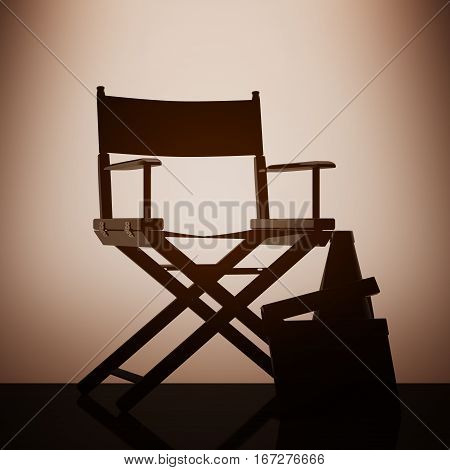 Director Chair Movie Clapper and Megaphone with backlight over Wall in dark room. 3d Rendering stock photo