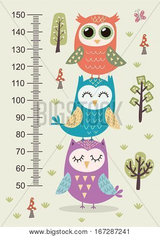 Kids height meter with cute owls. Funny stadiometer from 50 to 150 centimeter. Vector illustration stock photo