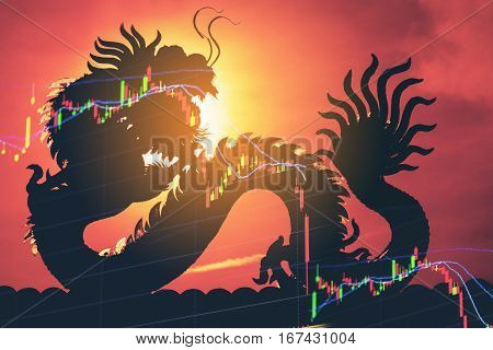 China stock market price graph display. Dragon as background means China economy concept. Stock market graph showing down economy. Failure in China business. Economic crisis stock market hit floor. stock photo