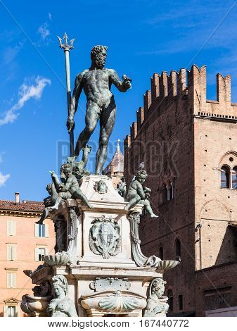 travel to Italy - fountain of Neptune in center of Bologna city in sunny day stock photo