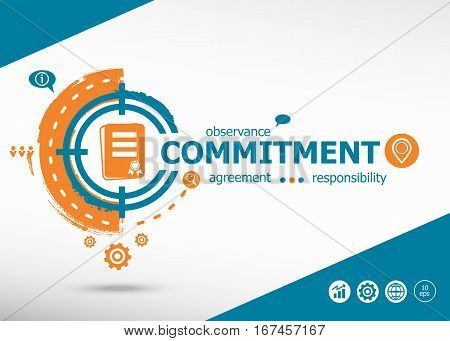 Commitment design and marketing concept on target icon background. Flat illustration. Infographic business for graphic or web design layout stock photo