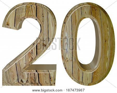 Numeral 20 twenty isolated on white background 3d render stock photo