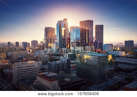 Sunset over Los Angeles downtown. Retro colors. California theme. LA background. Los Angeles city ce
