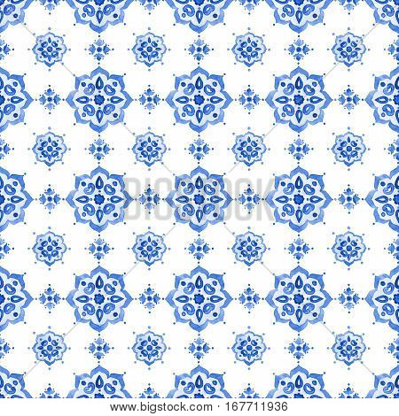 Delft blue style seamless pattern. Watercolor vintage filigree cobalt blue ornament for textile fabric wallpaper tableware. Dutch motives boho surface design. Holland tile motives blue background. stock photo