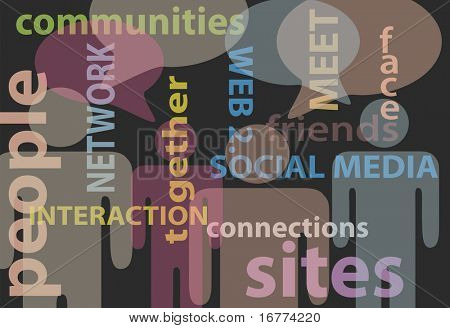 An abstract background of stick figure people and social media network words bubbles stock photo