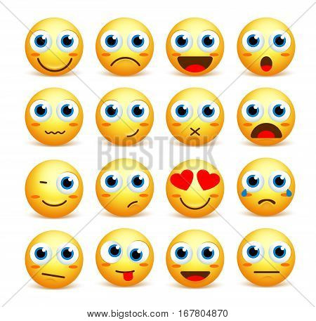 Smiley face vector set of emoticons and icons in yellow color with funny facial expressions and emotions isolated in white background. Vector illustration. stock photo
