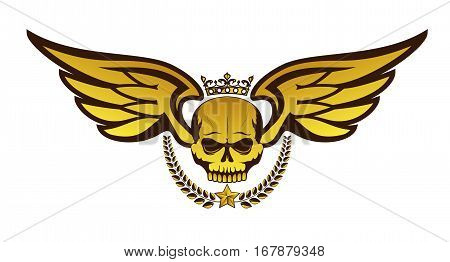 Vector golden tattoo or logo with crowned skull wings laurel wreath. Isolated on white background. Royal design for air force biker or MMA fighter print stock photo