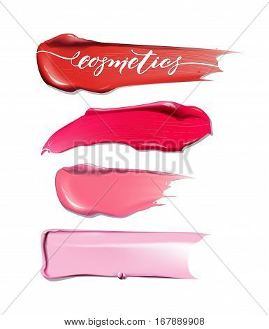 Collection of various Smears lipstick on white background. Beauty and cosmetics background. Use for advertising flyer banner leaflet. Template Vector. stock photo