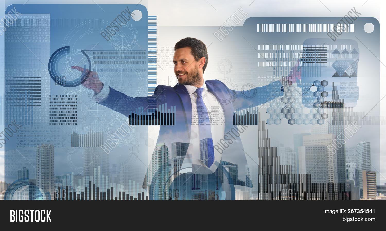 Digital Business Concept. Touch Digital Surface. Businessman Financial Manager Interact Digital Surf