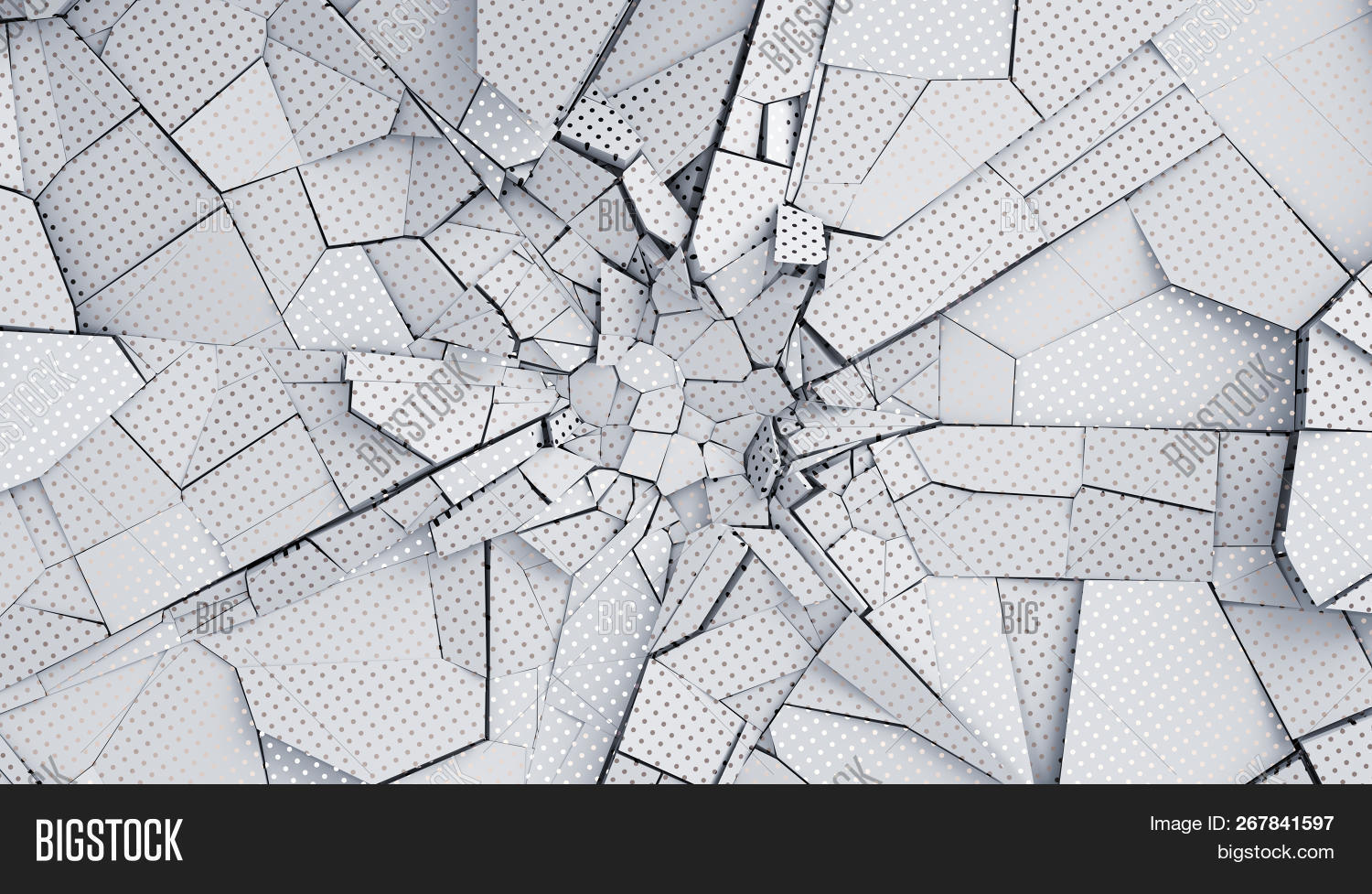 Abstract 3d Rendering Of Cracked Surface Modern