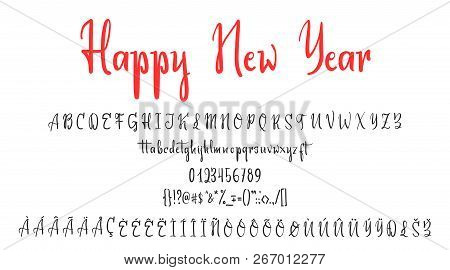 Handwritten calligraphy elegant font. and Congratulations Happy New Year and Merry Christmas, calligraphy for cards, posters and covers stock photo