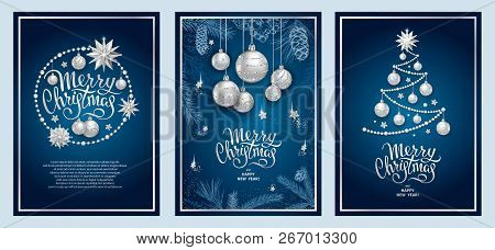 Set Of Three Card Merry Christmas And Happy New Year. Christmas Tree, Silver Glass Balls, Stars, Seq