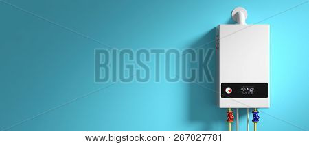 Home gas boiler, water heater isolated on brick wall, front view. 3d illustration stock photo