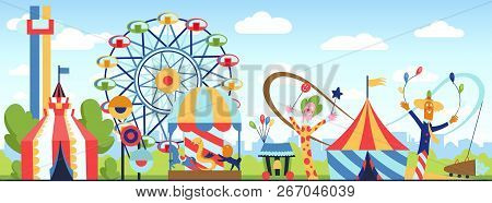 Amusement Park. Fun Park Vector Theme, Kids Carnival Entertainments Daytime, Children Amusing Attrac