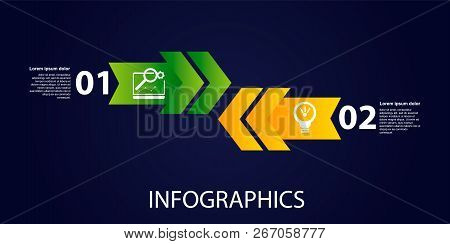 Dark vector illustration 3D. Infographic template with two elements, arrows, text and icons. Timeline step by step. Designed for business, presentations, web design, diagrams, training with 2 steps. stock photo