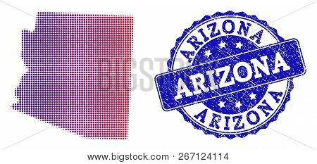 Halftone dot map of Arizona State and blue rubber seal stamp. Vector halftone map of Arizona State designed with regular small round dots and has gradient from blue to red color. stock photo