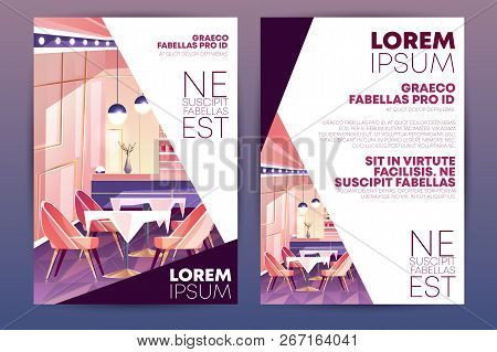 Cozy cafe, small restaurant or bar cartoon vector, vertical advertising flyer, promo leaflet design template. Restaurant hall pink interior with bar counter, comfortable chairs and tables illustration stock photo