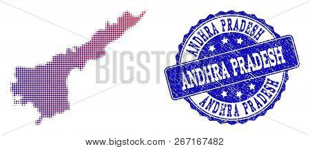 Halftone dot map of Andhra Pradesh State and blue rubber stamp. Vector halftone map of Andhra Pradesh State designed with regular small spheric dots and has gradient from blue to red color. stock photo