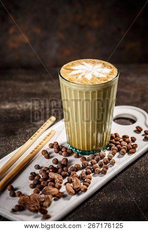 Coffee latte with cardamom, traditional arabic coffee stock photo