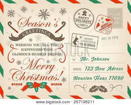 Merry Christmas Postcard Or Letter, Xmas Season Greetings With Stamps. Vector New Year Or Christmas