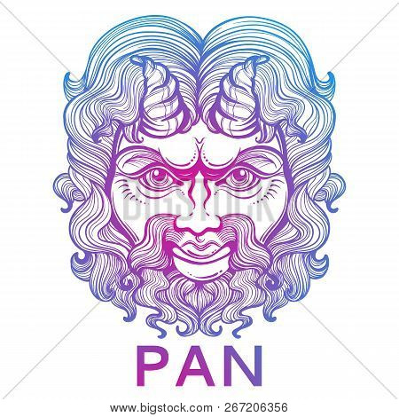Pan. The god of fertility and wildlife. Ancient Greek mask. High-detailed decorative vector illustration isolated. Myths and legends. Ancient ethnic symbol, tattoo design, print, t-shirt, textile. stock photo