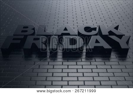 Black Friday, sale message for shop, big discount. Black Friday banner on brick wall. Banner for black friday sales. Huge discounts, promotions, coupons. 3D illustration stock photo