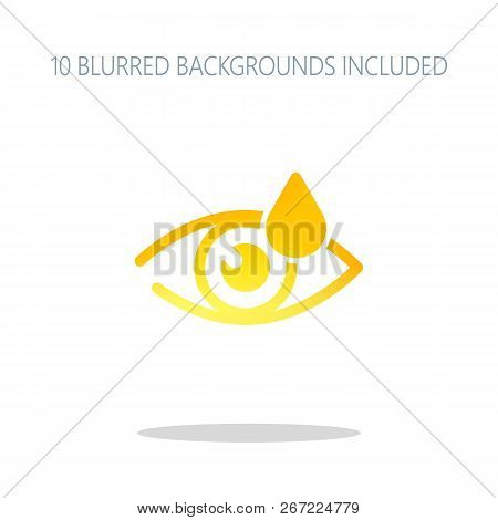 Eye and drop. Simple icon. Colorful logo concept with simple shadow on white. 10 different blurred backgrounds included stock photo