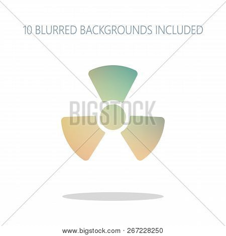 Radiation simple symbol. Radioactivity icon. Colorful logo concept with simple shadow on white. 10 different blurred backgrounds included stock photo