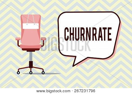 Text sign showing Churn Rate. Conceptual photo Percentage customers stop subscribing Employees leave job stock photo