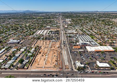 Main Street in Mesa, Arizona with an aerial view looking west from Gilbert Road showing construction progress, renovation and development in the area stock photo