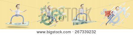 concept of money transfer. set of 3d illustration. stock photo
