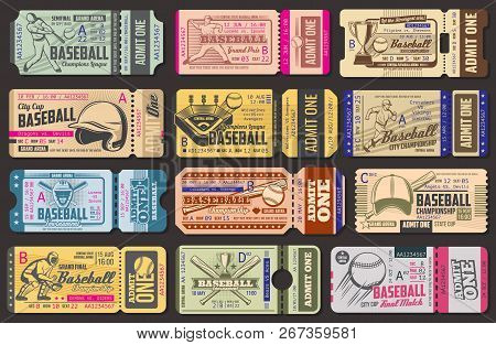 Baseball Championship Retro Admission Tickets. Sport Item And Sportsman In Uniform With Bat And Ball